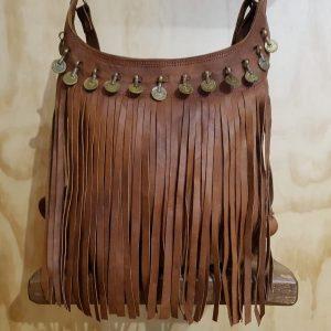 Bolso redondo de piel con monedas marrón